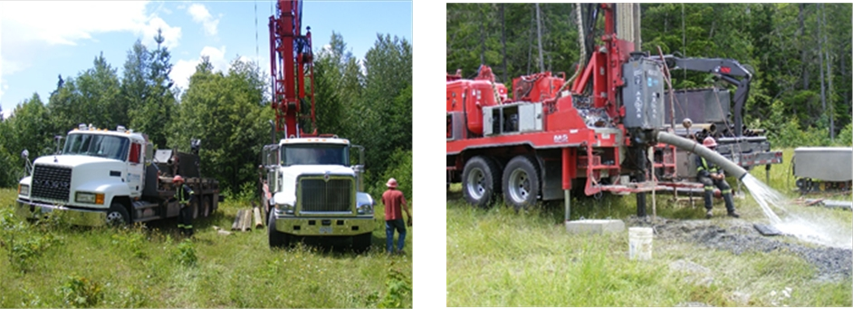 Figures 2 and 3. Drilling of the dedicated water well thatis the major source of water supply for the Galena Waterfront Property.